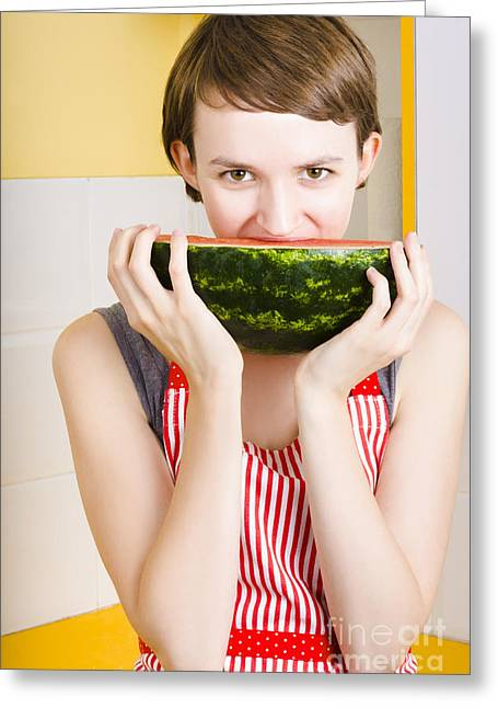 Girl With Short Hair Eating Ripe Juicy Watermelon Greeting Card