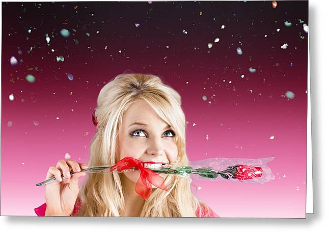 Girlfriend With Rose In Valentines Day Confetti Greeting Card by Jorgo Photography - Wall Art Gallery