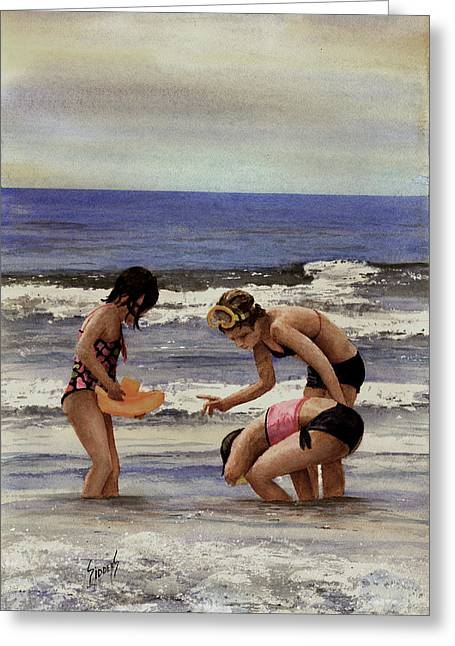 Girls At The Beach Greeting Card by Sam Sidders