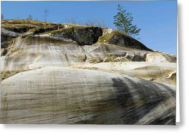 Glacially Eroded Granite Bedrock Greeting Card