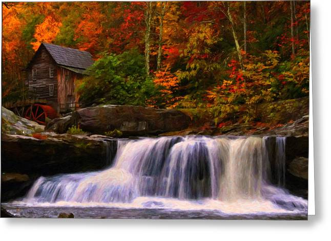 Glade Creek Grist Mill Greeting Card by Chris Flees