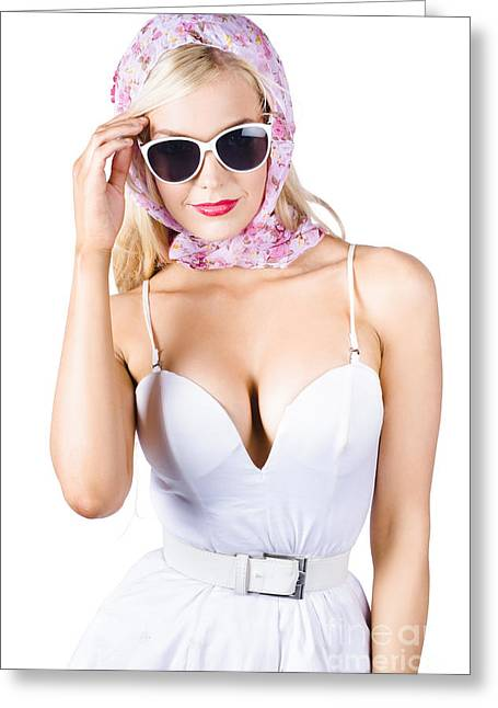 Glamorous Pinup Woman In Head Scarf Greeting Card by Jorgo Photography - Wall Art Gallery