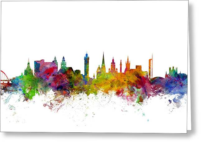 Glasgow Scotland Skyline Greeting Card by Michael Tompsett