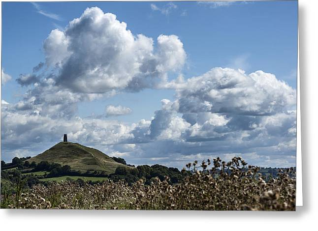 Gloastonbury Tor And Village On Beautiful Blue Sky Summer Day Greeting Card by Matthew Gibson