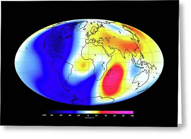 Global Magnetic Field Greeting Card by European Space Agency/dtu Space