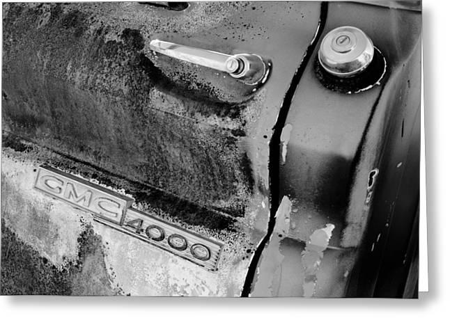 Gmc 4000 V6 Pickup Truck Side Emblem - Door Handle Greeting Card by Jill Reger