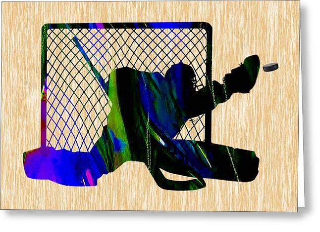Goalie Greeting Card by Marvin Blaine