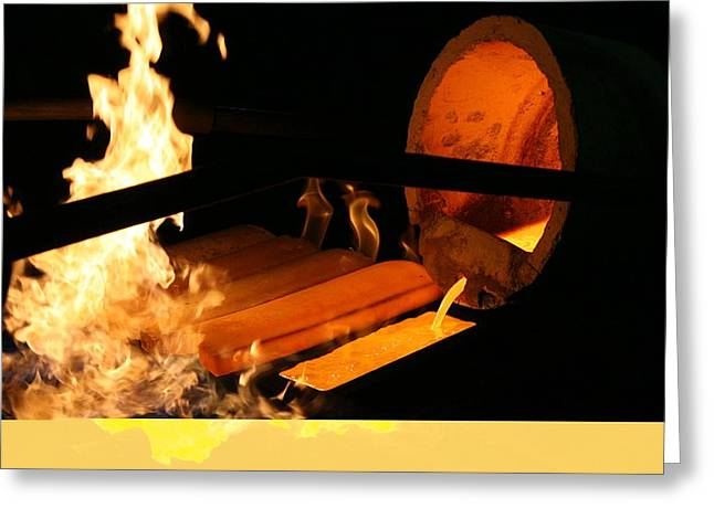 Gold Refinery Greeting Card by Science Photo Library