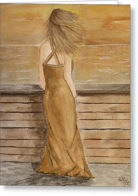 Greeting Card featuring the painting Golden Breeze by Kelly Mills