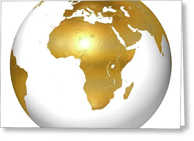 Golden Earth Globe Greeting Card by Mikkel Juul Jensen