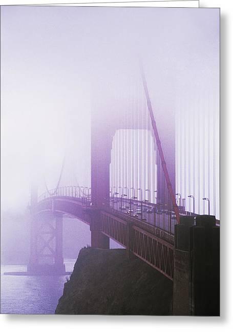 Golden Gate Bridge In Fog, San Greeting Card