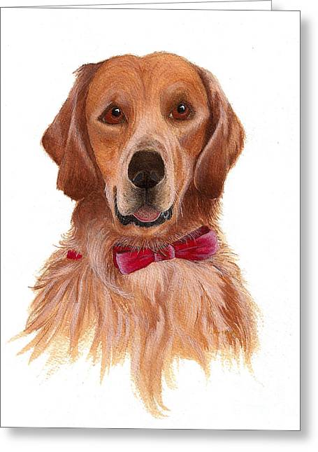 Greeting Card featuring the painting Golden Labrador by Nan Wright
