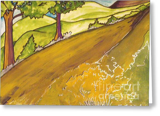 Greeting Card featuring the painting Golden Road by Iris Gelbart