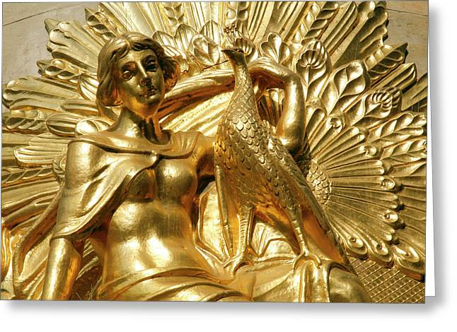 Golden Statuary Decorates The Downtown Greeting Card