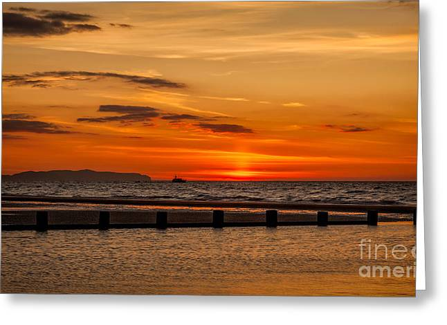 Golden Sunset Greeting Card by Adrian Evans
