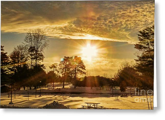 Golden Sunset Greeting Card by Brenda Bostic