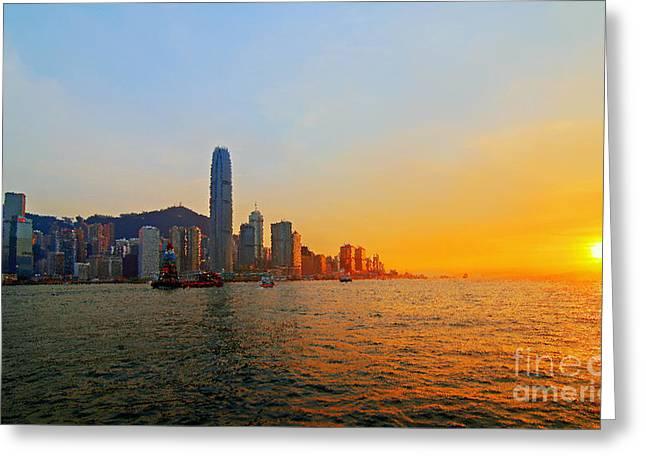 Golden Sunset In Hong Kong Greeting Card by Lars Ruecker