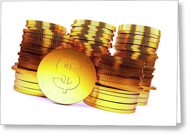 Golden Us Dollar Coins Greeting Card by Sebastian Kaulitzki