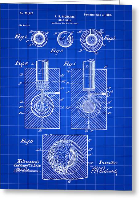 Golf Ball Patent 1902 - Blue Greeting Card by Stephen Younts