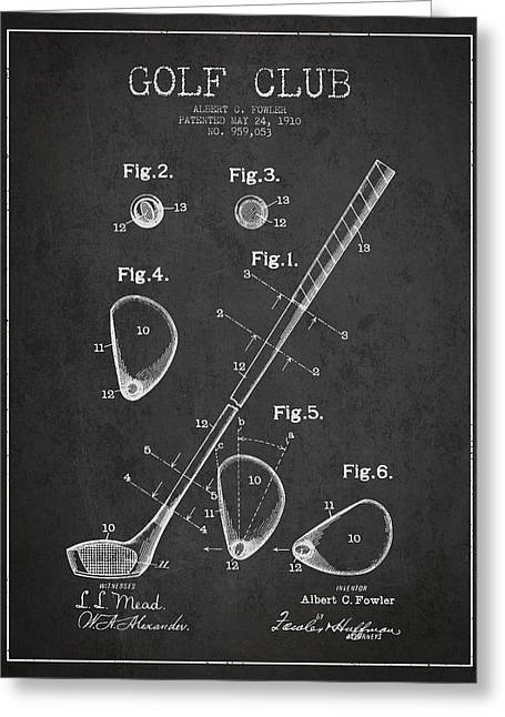 Golf Club Patent Drawing From 1910 Greeting Card