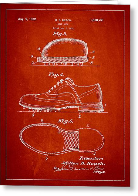 Golf Shoe Patent Drawing From 1931 Greeting Card by Aged Pixel