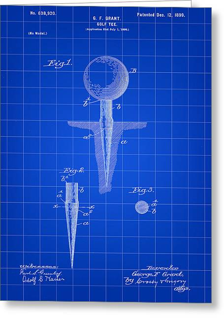 Golf Tee Patent 1899 - Blue Greeting Card by Stephen Younts