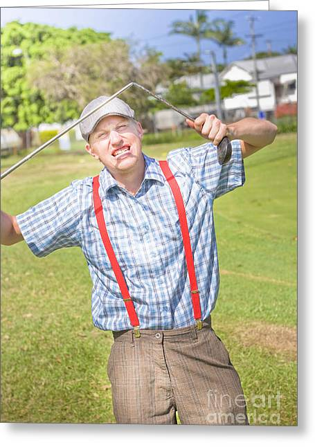 Golf Temper Tantrum Greeting Card by Jorgo Photography - Wall Art Gallery