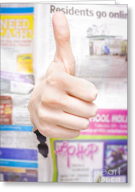 Good News Or Thumbs Up Review Greeting Card by Jorgo Photography - Wall Art Gallery