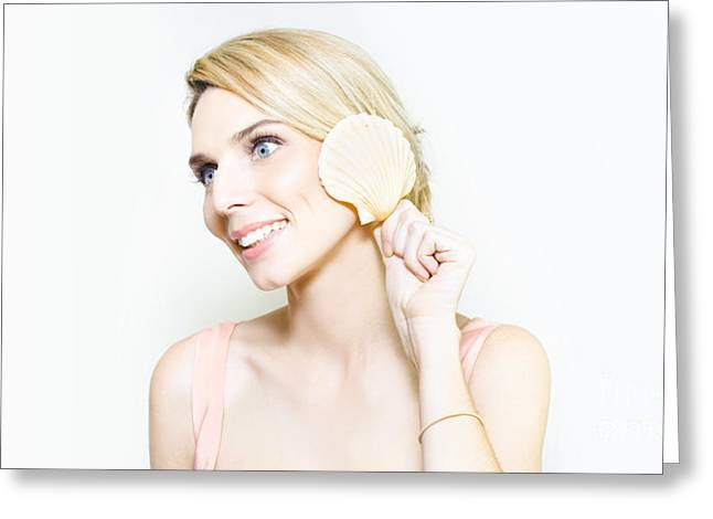 Gorgeous Blonde Listening For The Ocean In A Shell Greeting Card by Jorgo Photography - Wall Art Gallery