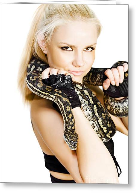 Gorgeous Blonde Snake Handler Greeting Card by Jorgo Photography - Wall Art Gallery