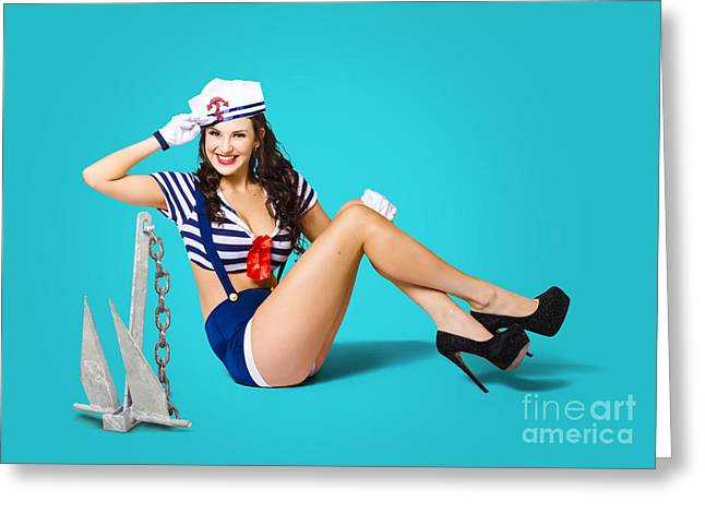 Gorgeous Pin Up Sailor Girl Wearing Hat Greeting Card by Jorgo Photography - Wall Art Gallery