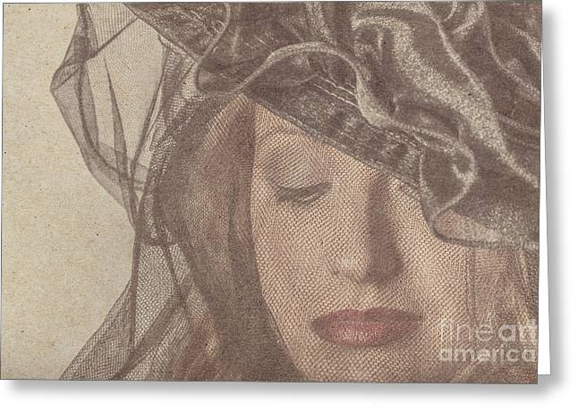 Gorgeous Woman Wearing Make-up Under A Veil Greeting Card