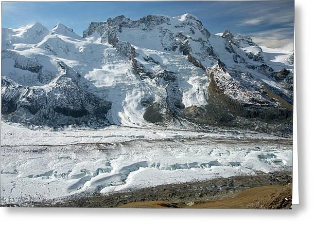 Gorner Glacier Greeting Card by Bob Gibbons