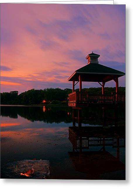 Gorton Pond Sunset Warwick Rhode Island Greeting Card by Lourry Legarde