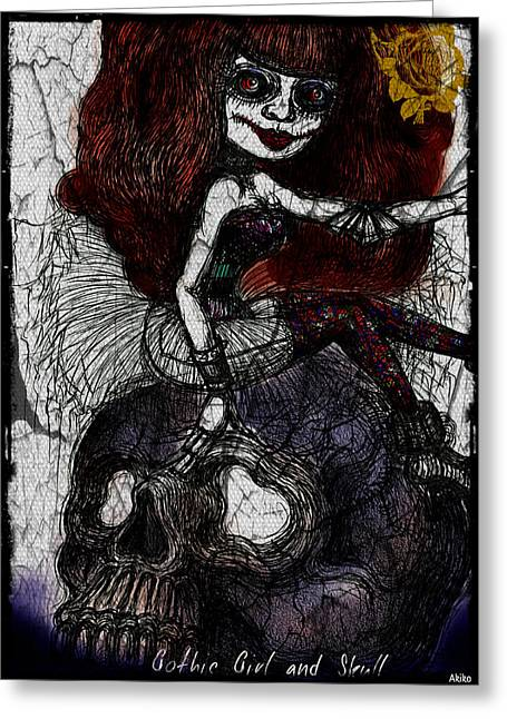Gothic Girl And Skull Greeting Card by Akiko Okabe