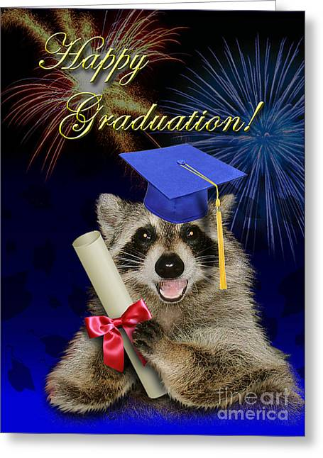 Graduation Raccoon Greeting Card by Jeanette K