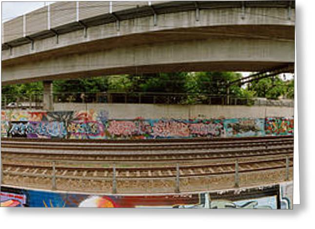 Graffiti On The Wall Along A Railroad Greeting Card by Panoramic Images