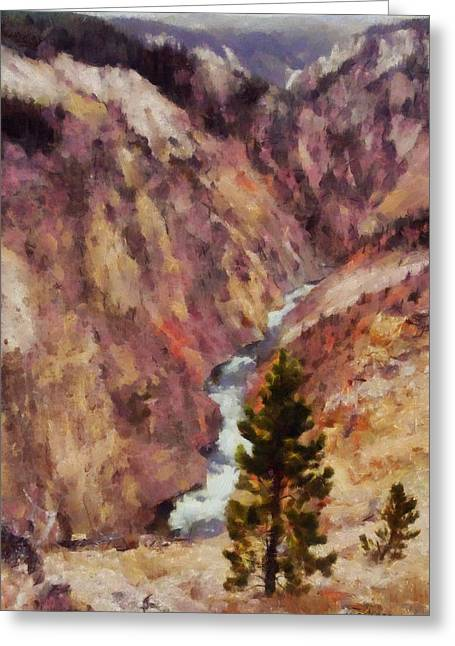 Greeting Card featuring the painting Grand Canyon Of The Yellowstone by Kai Saarto