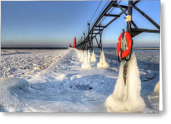 Grand Haven Pier In Winter Greeting Card