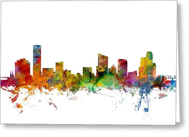Grand Rapids Michigan Skyline Greeting Card by Michael Tompsett