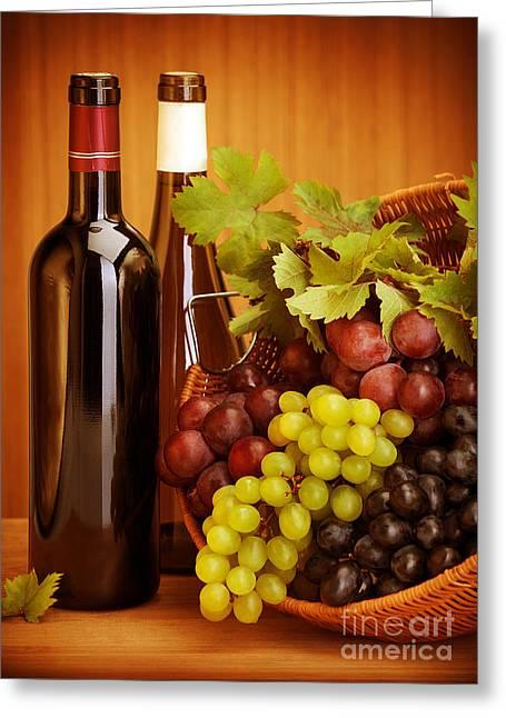 Grape Wine Still Life Greeting Card by Anna Om