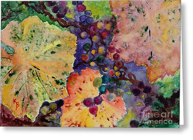 Greeting Card featuring the painting Grapes And Leaves by Karen Fleschler