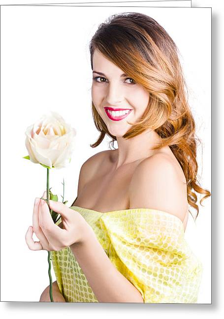 Grateful Woman Giving White Rose Greeting Card by Jorgo Photography - Wall Art Gallery