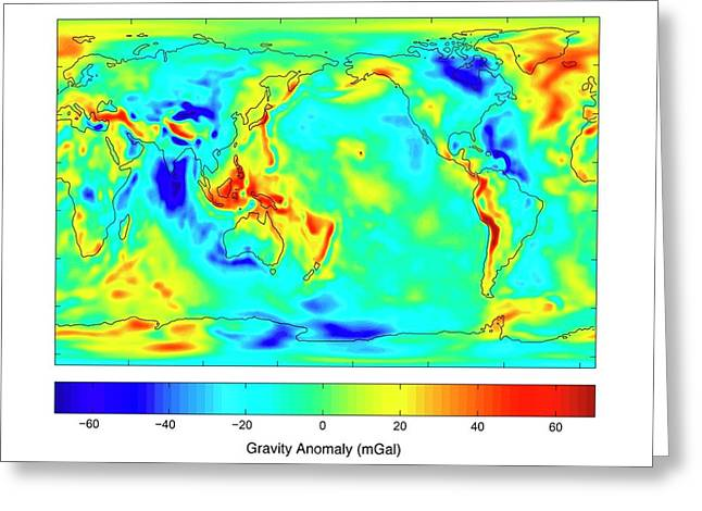 Gravity Map Of Earth Greeting Card