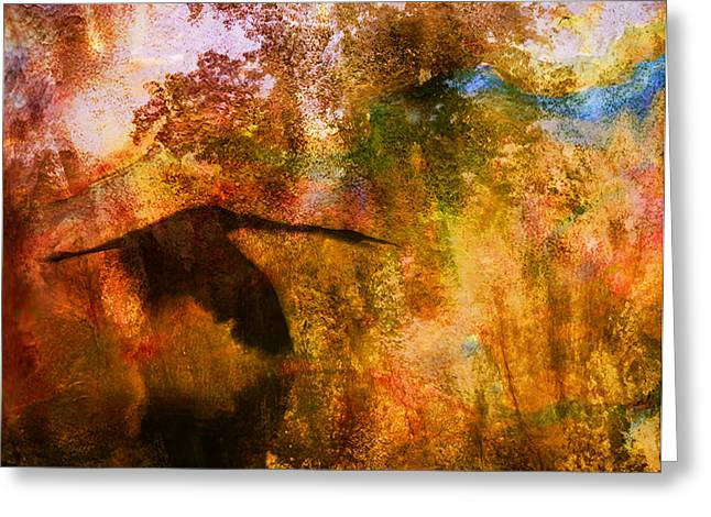 Greeting Card featuring the digital art Great Blue Heron Abstract by J Larry Walker