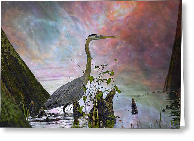 Greeting Card featuring the digital art Great Blue Heron In A Heavenly Mist by J Larry Walker
