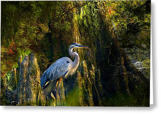 Greeting Card featuring the digital art Great Blue Heron Slowly Strolling by J Larry Walker