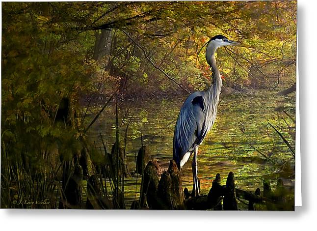 Greeting Card featuring the digital art Great Blue Heron Wading by J Larry Walker