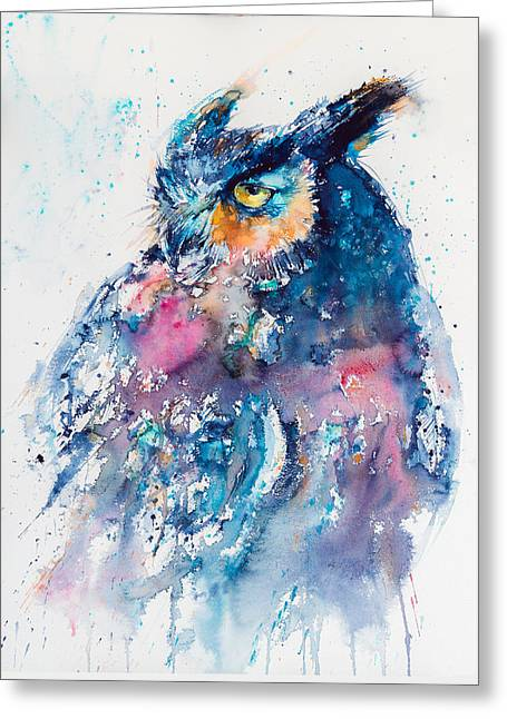 Great Horned Owl Greeting Card by Kovacs Anna Brigitta