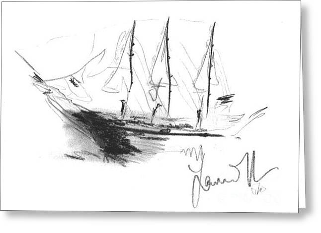 Greeting Card featuring the drawing Great Men Sailing by Laurie Lundquist